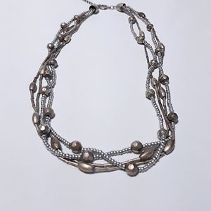 Jewelry - Pewter Colored Beaded Multi-strand Necklace